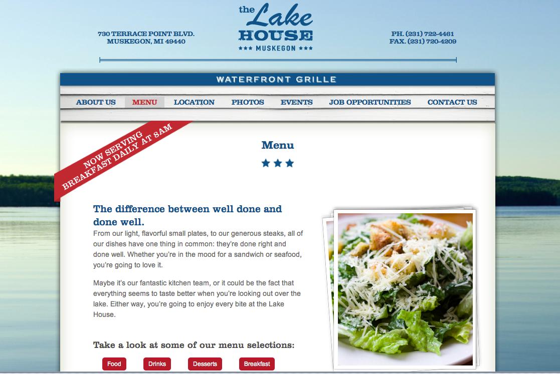 Lake House menu